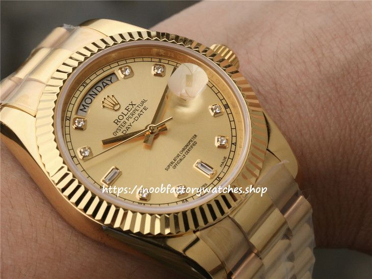 N Factory Rolex Day Date Ii 41 President Yellow Gold Diamond Mens Watch 218238 904l Stainless Steel