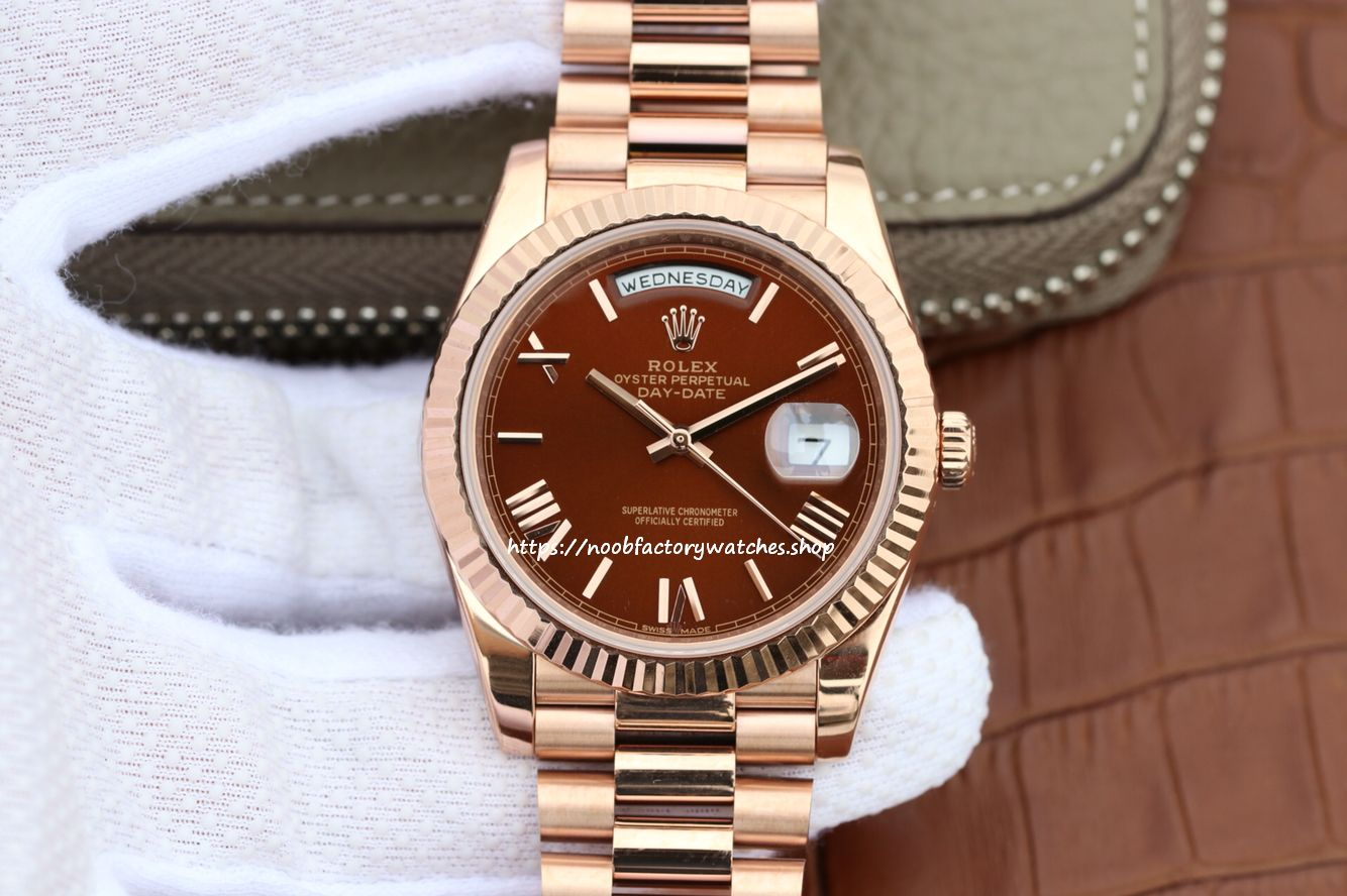 c6776697f0b Noob Rolex Day-Date 40 228235 Rose Gold Watch (Chocolate) - The N ...